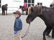 Drengur með hestur