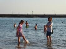 Atlantic Ocean with tourists.