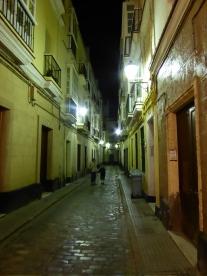 Quaint street at night.