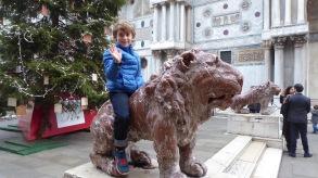 Riding the Stone Lion.