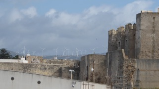 From the deck: Ancient Spanish city walls; modern Spanish windmills.